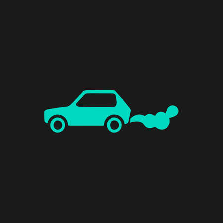 air pollution cartoon: Car emits carbon dioxide. Flat simple modern illustration pictogram. Collection concept symbol for infographic project Illustration