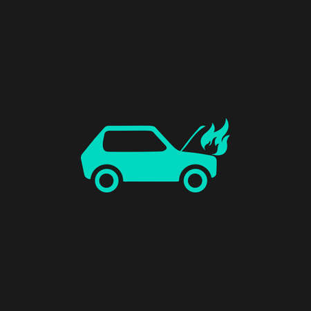 misfortune: Car fired. Flat simple modern illustration pictogram. Collection concept symbol for infographic project Illustration
