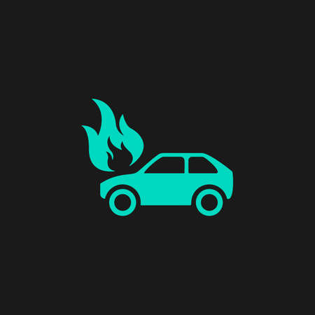 inundation: Car fire. Flat simple modern illustration pictogram. Collection concept symbol for infographic project