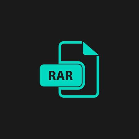 rar: RAR file format. Flat simple modern illustration pictogram. Collection concept symbol for infographic project
