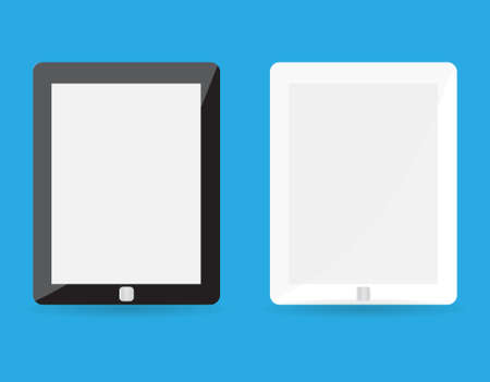 blank tablet: computer tablet with blank white screen. vector realistic illustration. eps10