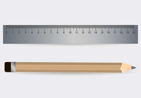 Pencil with ruler.