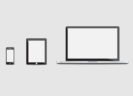 pro: laptop smartphone and tablet mockup white background