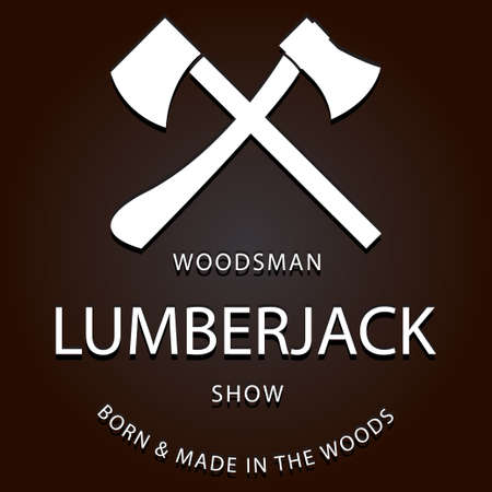 axes: lumberjack logo label with axes. eps 10 vector iilustration Illustration