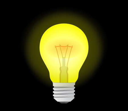 inspiration: glowing yellow light bulb as inspiration concept