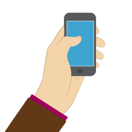 using smartphone: using smartphone screen. Vector flat illustration eps10 Illustration