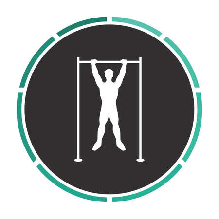 telamon: athlete Simple flat white vector pictogram on black circle. Illustration icon Illustration