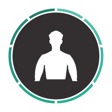 unknown: Unknown male Simple flat white vector pictogram on black circle. Illustration icon