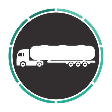 fuel truck: Fuel Truck Simple flat white vector pictogram on black circle. Illustration icon