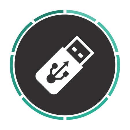 ful: USB flash drive Simple flat white vector pictogram on black circle. Illustration icon