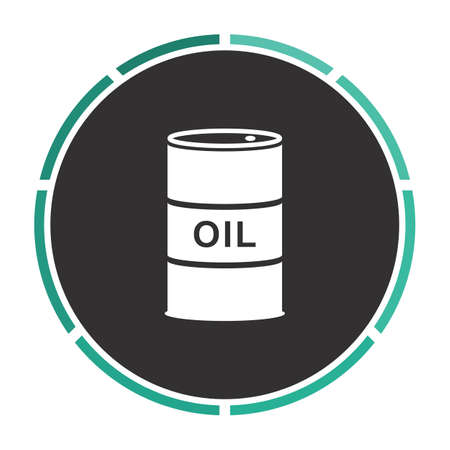 shareholding: Oil barrels Simple flat white vector pictogram on black circle. Illustration icon
