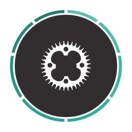 sprockets: Sprockets Simple flat white vector pictogram on black circle. Illustration icon Illustration
