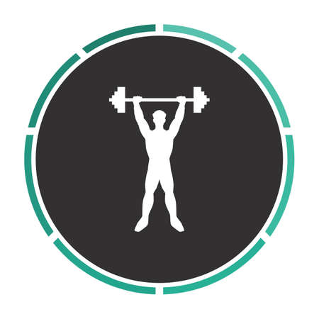strongman: Strongman Simple flat white vector pictogram on black circle. Illustration icon