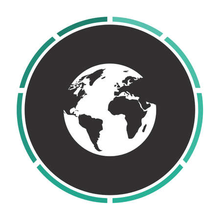 earth Simple flat white vector pictogram on black circle. Illustration icon