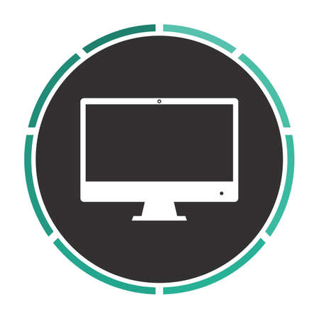 Computer display Simple flat white vector pictogram on black circle. Illustration icon Ilustração