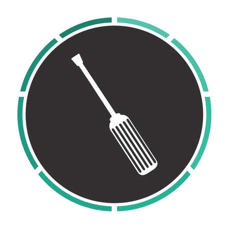 turnscrew: turn-screw Simple flat white vector pictogram on black circle. Illustration icon