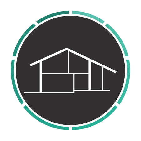 tenancy: cottage Simple flat white vector pictogram on black circle. Illustration icon