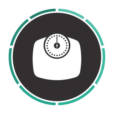 analog weight scale: Bathroom scale Simple flat white vector pictogram on black circle. Illustration icon