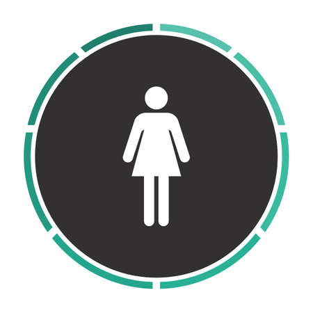 black woman: woman Simple flat white vector pictogram on black circle. Illustration icon Illustration