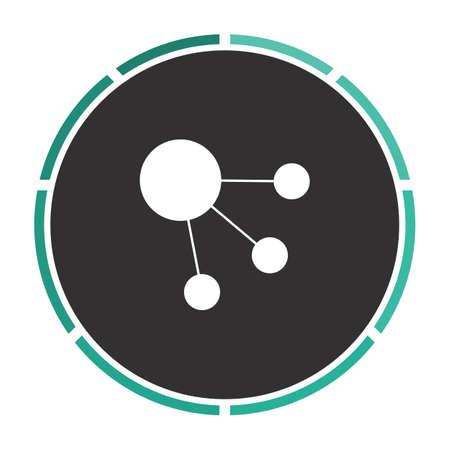 interplanetary: satellite Simple flat white vector pictogram on black circle. Illustration icon