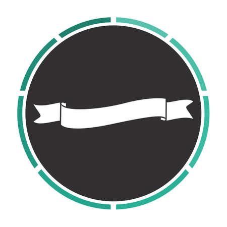 white wave: Wave ribbon Simple flat white vector pictogram on black circle. Illustration icon