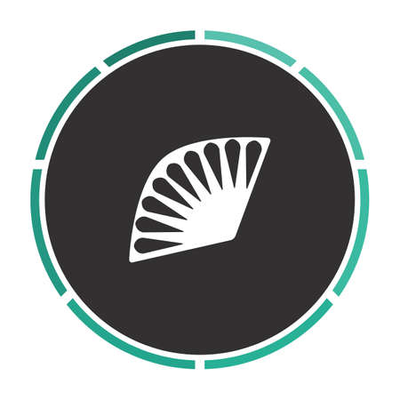 black fan: Folding fan Simple flat white vector pictogram on black circle. Illustration icon