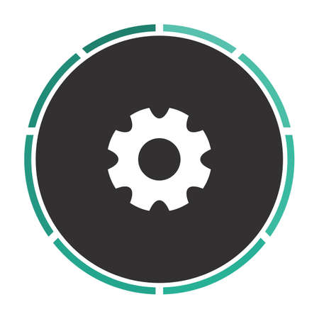 gearwheel: gearwheel Simple flat white vector pictogram on black circle. Illustration icon