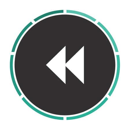 rewind icon: rewind  Simple flat white vector pictogram on black circle. Illustration icon Illustration
