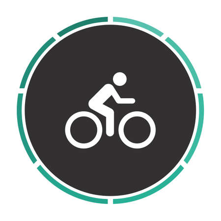 vector cartoons: Cycling Simple flat white vector pictogram on black circle. Illustration icon Illustration