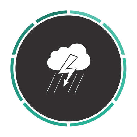 ful: thunderstorm Simple flat white vector pictogram on black circle. Illustration icon