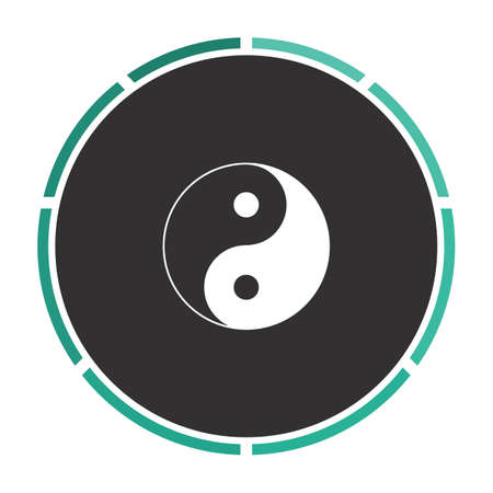 karma design: Ying yang Simple flat white vector pictogram on black circle. Illustration icon