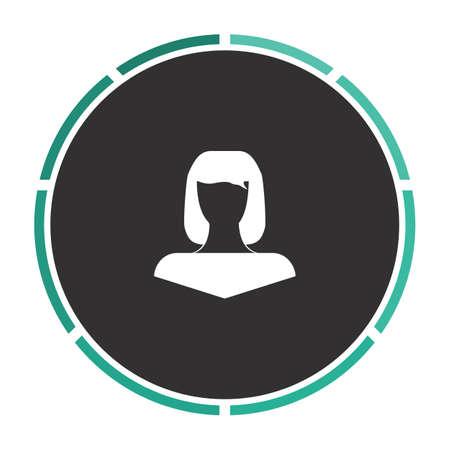 Girl head Simple flat white vector pictogram on black circle. Illustration icon