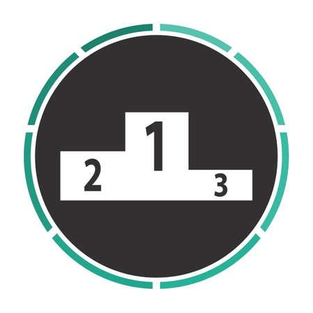 lighting button: Podium Simple flat white vector pictogram on black circle. Illustration icon Illustration