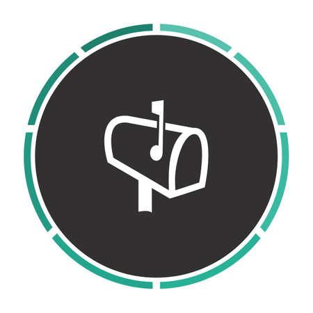 Mailbox Simple flat white vector pictogram on black circle. Illustration icon