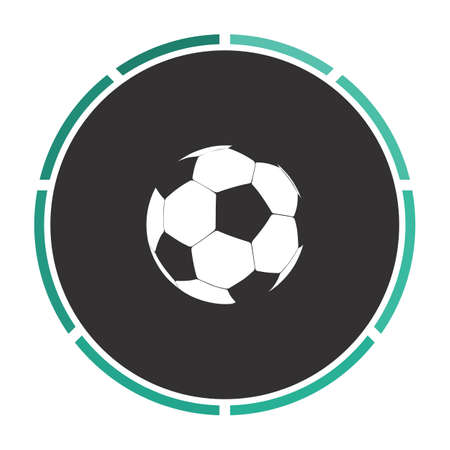 simplistic icon: Soccer ball Simple flat white vector pictogram on black circle. Illustration icon Illustration