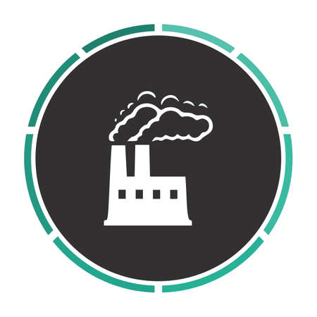 industry background: power plant Simple flat white vector pictogram on black circle. Illustration icon