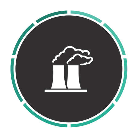 industry background: Bad factory Simple flat white vector pictogram on black circle. Illustration icon