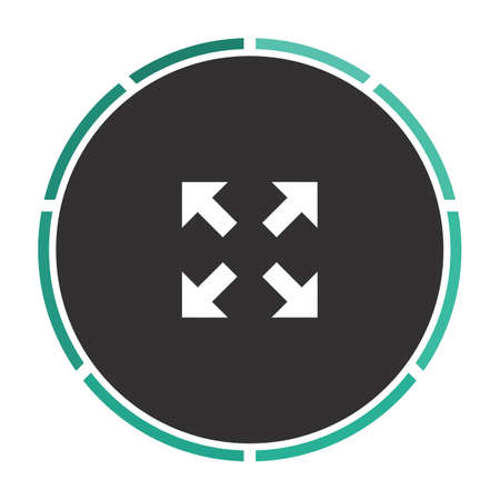 geocache: four arrows Simple flat white vector pictogram on black circle. Illustration icon Illustration
