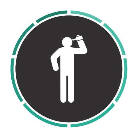 drunkard: drunkard Simple flat white vector pictogram on black circle. Illustration icon Illustration