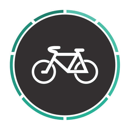 active content: Mountain bike Simple flat white vector pictogram on black circle. Illustration icon Illustration