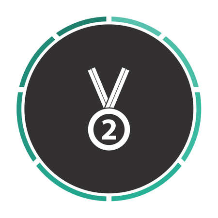 silver medal: silver medal Simple flat white vector pictogram on black circle. Illustration icon