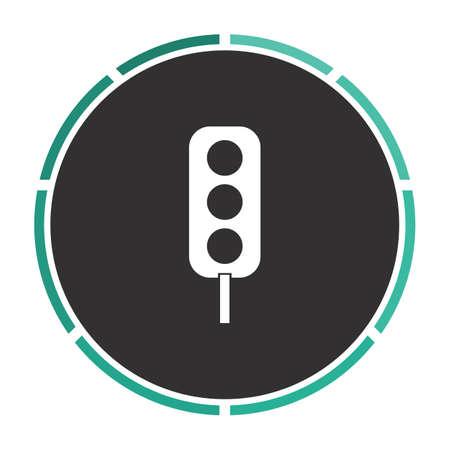 clipart street light: Traffic light Simple flat white vector pictogram on black circle. Illustration icon