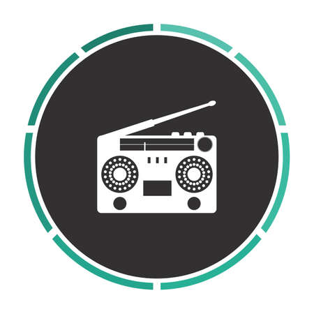 boombox: boombox Simple flat white vector pictogram on black circle. Illustration icon