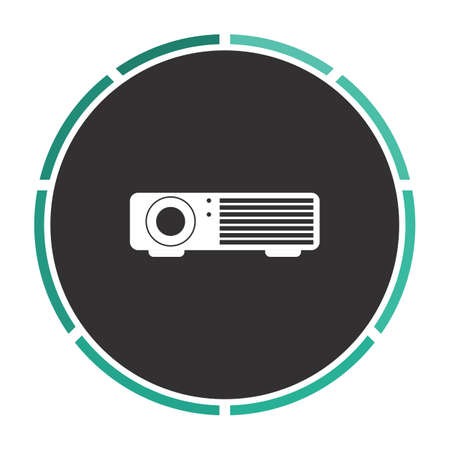 taught: Projector Simple flat white vector pictogram on black circle. Illustration icon