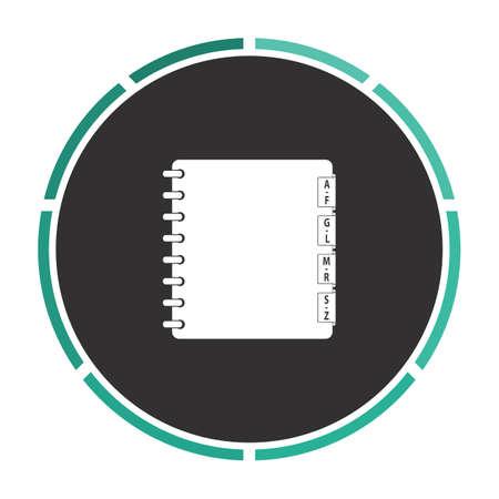 moleskin: Organizer Simple flat white vector pictogram on black circle. Illustration icon Illustration