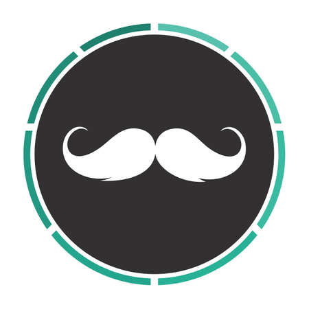 chaplin: Mustache Simple flat white vector pictogram on black circle. Illustration icon