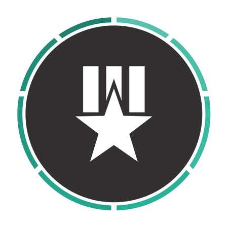 communistic: Order star Simple flat white vector pictogram on black circle. Illustration icon Illustration