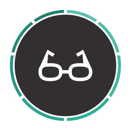 eye glasses: Glasses Simple flat white vector pictogram on black circle. Illustration icon