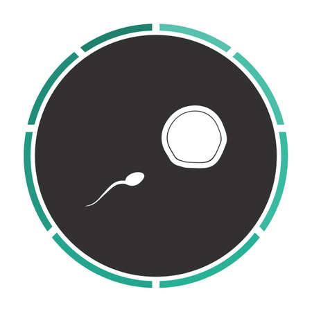 fertilization Simple flat white vector pictogram on black circle. Illustration icon Illustration