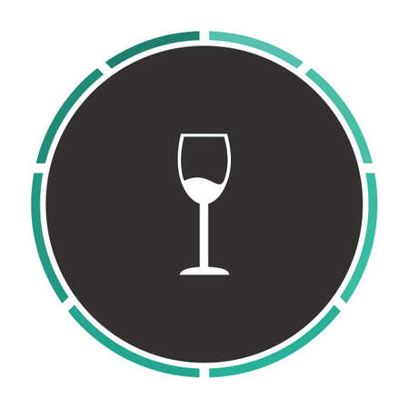 vineyard plain: wineglass Simple flat white vector pictogram on black circle. Illustration icon Illustration